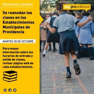 Se reanudan las clases en los Establecimientos Municipales de Providencia